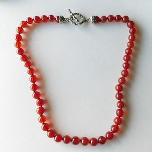 sterling and carnelian stone knotted bead necklace